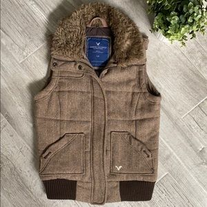 AMERICAN EAGLE Brown Tweed Vest, Size Small